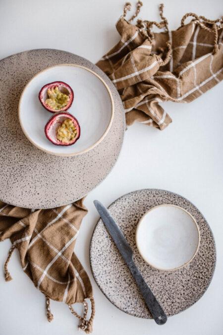 HKliving gradient ceramics dinner plate taupe set van 2