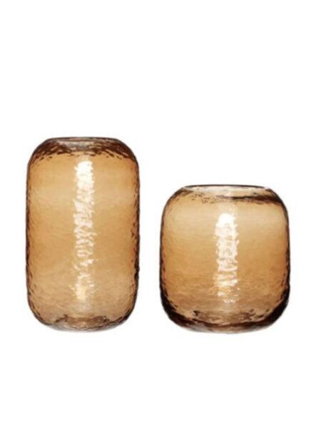 Hubsch glazen amber vaas laag