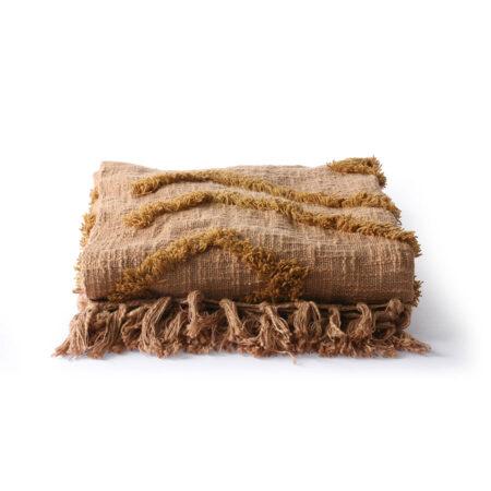 HKliving katoenen fringe bruin plaid