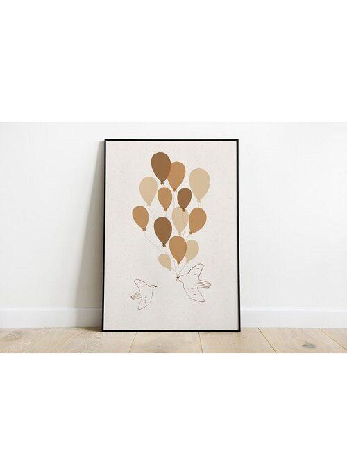 Poster balloon birds