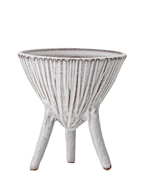 Bloomingville pot op pootjes wit en terracotta