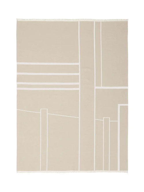 Kristina Dam plaid architecture brushed cotton beige/off white
