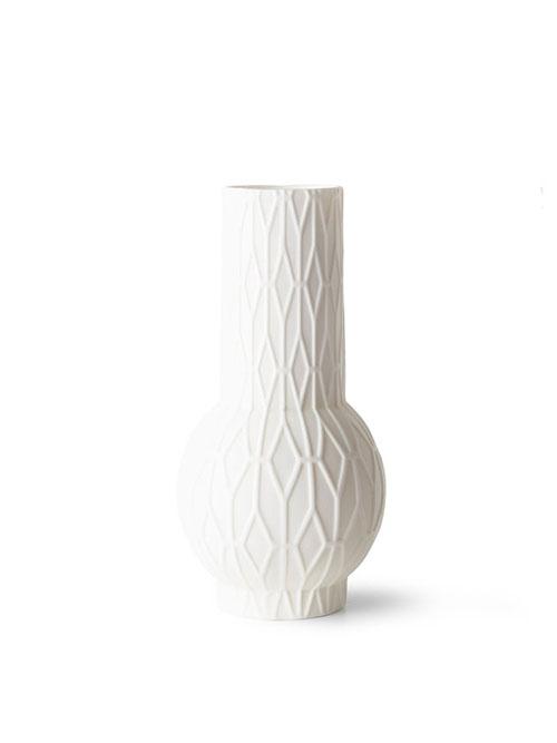 HKliving vaasje wit porselein geometrisch