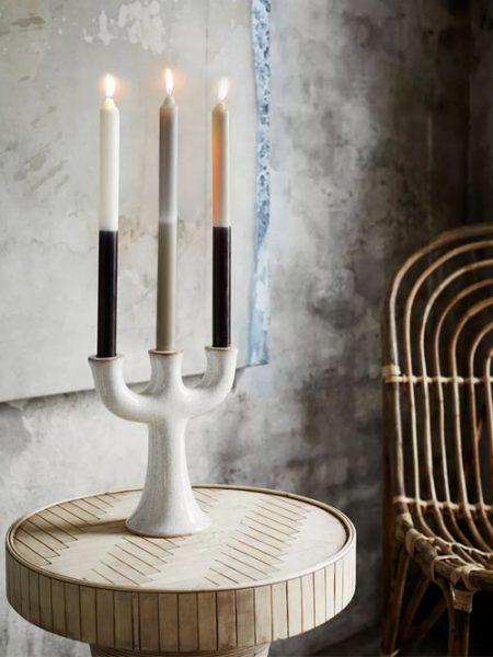 Madam Stoltz kandelaar aardewerk off-white 3 kaarsen